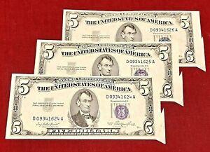 1953 $5 SILVER CERTIFICATE 3-CONSECUTIVE CUTTING ERRORS