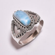 925 Sterling Silver Ring Size UK S 3/4, Larimar Handcrafted Women Jewelry CR4325