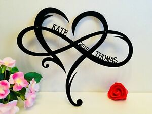 Personalized Wall Hanging Heart Infinity Love Sign Custom Names Valentine's Gift