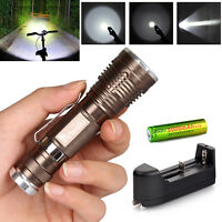 Ultrafire 5000LM CREE XM-L T6 LED Flashlight Torch Zoomable Light 18650+Charger