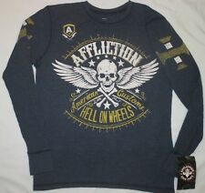 Mens M AFFLICTION ACMC Live Fast SKULL, HELL ON WHEELS Long Sleeve THERMAL SHIRT
