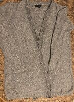 Eileen Fisher Small Sweater Long Open Knit Cardigan Gray Long Sleeve Excellent