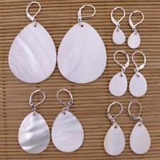 13mm-45mm Teardrop Shell Natural White Mother of Pearl Silver Color Hook Earring