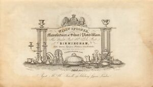 1842 ANTIQUE PRINT-ADVERT -  WILLIAM SPOONER, MANUF. OF SILVER PLATED WARES