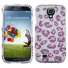 For Samsung Galaxy S4 S IV Crystal Diamond BLING Case Phone Cover Purple Cheetah