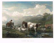"""Verboeckhoven's """"PASSING THE BROOK"""" Hand-Colored Steel Eng. -1858 (CATTLE PRINT)"""