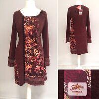 Joe Browns Jumper Dress 14 Wool Blend Tunic Long Sleeve Burgundy Brown Boho NEW