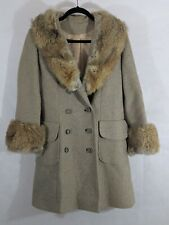 Coyote Wool Coat Womens 6 Vintage Brown Pockets Swing Lined Warm Retro Fur Cuffs