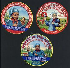 Set of Three Original French Camembert Cheese Labels, Men Holding Cheese, 636
