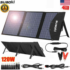 120W Portable Folding Solar Panel System kit for Home Camper RV Car Power Charge