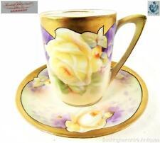 ANTIQUE VINTAGE RS PRUSSIA PORCELAIN CHOCOLATE CUP & SAUCER GILT GILDING