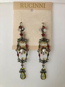 New Rucinni Earrings with Red, Green and Yellow Swarovski Crystals