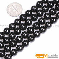 """Natural Grade AAA Black Spinel Gemstone Round Beads For Jewelry Making 15""""Strand"""