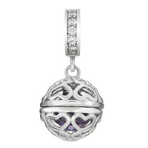 Rhodium Sterling Silver Imitation Birthstone CZ Bead for European Charm Bracelet