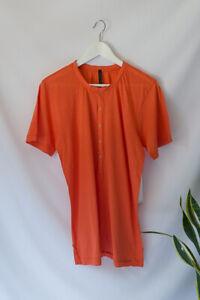 HUDSON Men's Bright Orange Popper Button T-shirt 100% Cotton Tee Jersey Size M