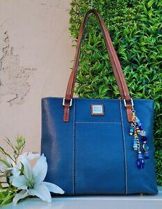 Dooney & Bourke Pebbled Leather Zip Lexington Tote Purse shoulder handbag denim