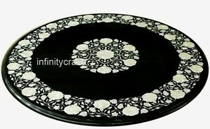24 Inches Marble Coffee Table Black Patio Center Table Top with MOP Inlay Work