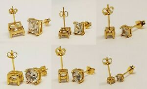 Ear Studs Earrings 9ct Gold Silver Plated Round Square Stud Crystal Men Womens