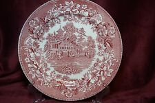 "Avon Cottage  by Wedgwood . Pink 10"" Dinner Plate .1962 . Made in England"