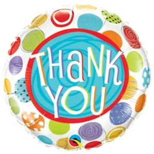 """Thank You Patterned Dots 9"""" Qualatex Mini Foil Balloon on Stick"""