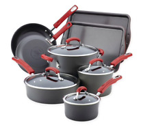Rachael Ray Hard-Anodized Nonstick 12-Pc Gray & Red Cookware Set - Open Box