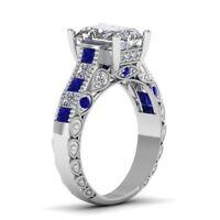 Certified 3.45Ct Emerald Cut White Diamond & Blue Sapphire Ring 14K White Gold