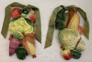 Kitchen wall art Vintage Art Deco Ceramic mixed Vegetable Wall Hangings set of 2