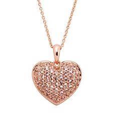 Simulated Morganite Puffed Heart Pendant in 14K Rose Gold-Plated Sterling Silver