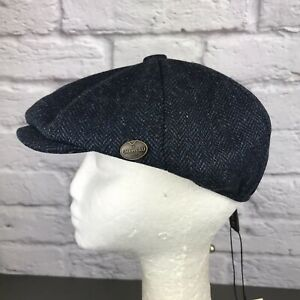 Le Chameau Marine Blue Tweed Baker Boy Hat Size S