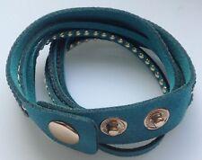 bracelet moderne 4 bandes déco 2 tours cristaux clous turquoise pression A10