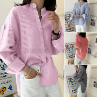 Women Long Sleeve Mandarin Collar Stripe Shirt Casual Loose Top Blouse Plus Size