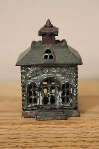 Smallest cast iron State Bank building bank - multi-color painted - circa 1890