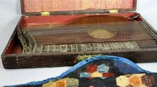 Antique Zither and  Case Handmade Quilt