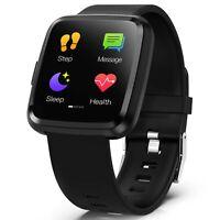 Noziroh Watch Fitness Nero Smartwatch Bluetooth Per iPhone Samsung Huawei Xiaomi