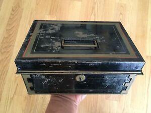 Antique Toleware Black And Gold Trim Metal Cash Box