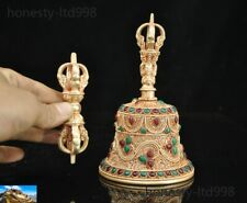 Tibet silver Filigree 24k gold Gilt Inlay gem Dorje Vajra Phurpa Dagger Bell set