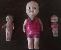 """Vintage 3 Celluloid Dolls. 2""""-5"""" Japan. Occupied Japan Kewpie."""