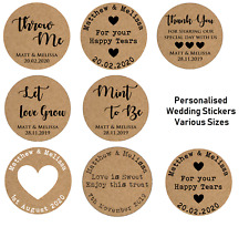 Personalised Wedding Shabby Brown Kraft Effect Favour Stickers - VARIOUS SIZES