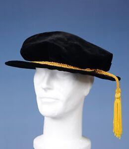 Graduation Doctors Tudor Bonnet UK PhD Doctoral -Wool/Velvet Hat Gown Accessory