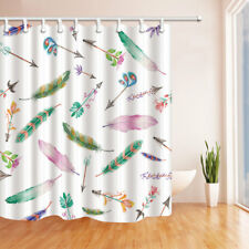Old Arrow With Colored Feather Bathroom Shower Curtain Fabric w/12 Hooks 71inch