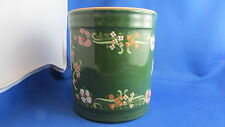 ancien pot a tabac ou epices en faience emaillee de fleurettes epoque 1900