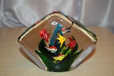 MURANO Art Glass Aquarium Paperweight Sculpture Rhombus Shaped 7 Fish