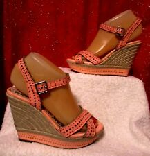5626d2ae57c GIANNI BINI SZ 6 PINK CORAL PERFORATED LEATHER OPEN TOE PLATFORM WEDGE  SANDALS