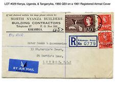 029: Kenya, Uganda, & Tanganyika, 1960 QEII on a 1961 Registered Airmail Cover