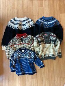 icelandic 5 sweater lot 100% wool dale of norway norwear iceland metal vintage