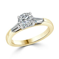 14K Solid Hallmarked Solid Yellow Gold 1.36Ct Round Cut Moissanite Wedding Ring