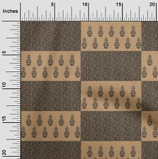 oneOone Cotton Jersey Dark Beige Fabric Leaves & Floral Block Quilting-4xI