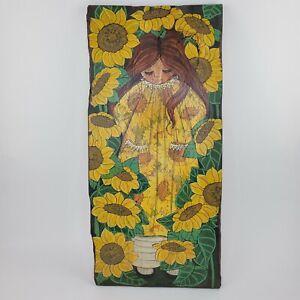 Jan McPherson Sunflower Girl Vintage Pittsburgh Original Art Rustic Wood Plank