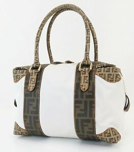 Auth FENDI Brown Zucca Canvas White Coated Fabric Tote Hand Bag Purse #39461