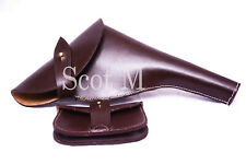More details for ww1 officers revolver leather holster webley .455 brown + sam browne pouch